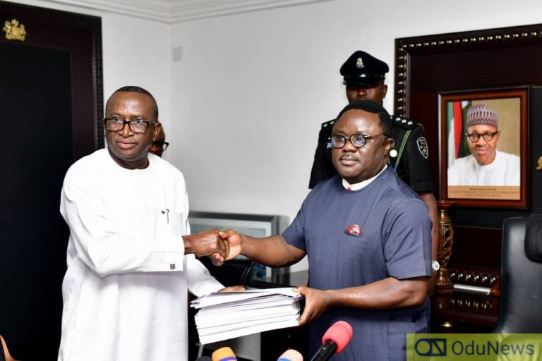 Ben Ayade Receives Report From Senator Ndoma-Egba-led Committee